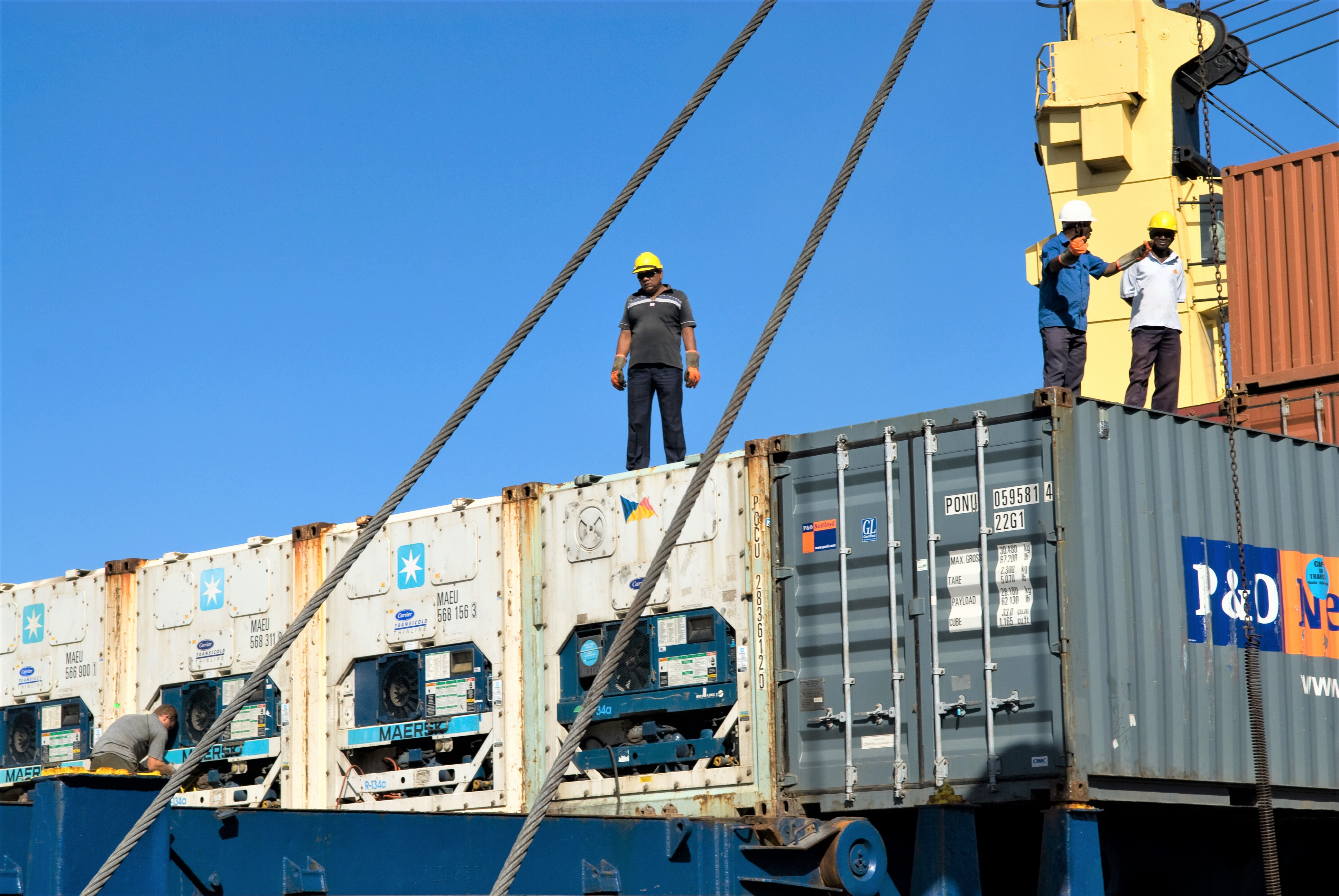 workers at port container terminal in Mauritius