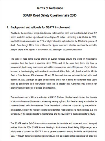 Terms of Reference - SSATP Road Safety Questionnaire 2005