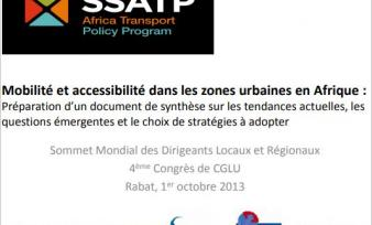 SSATP Hosts Side Event at World Summit of Local and Regional Leaders in Rabat, Morocco